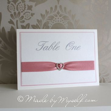 Ribbon Heart Table Number - Landscape